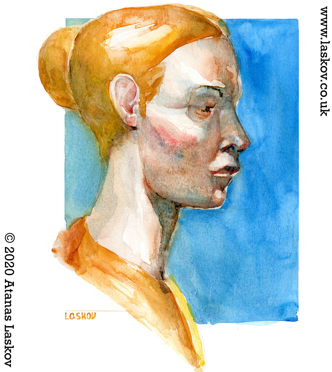 Watercolor head in profile
