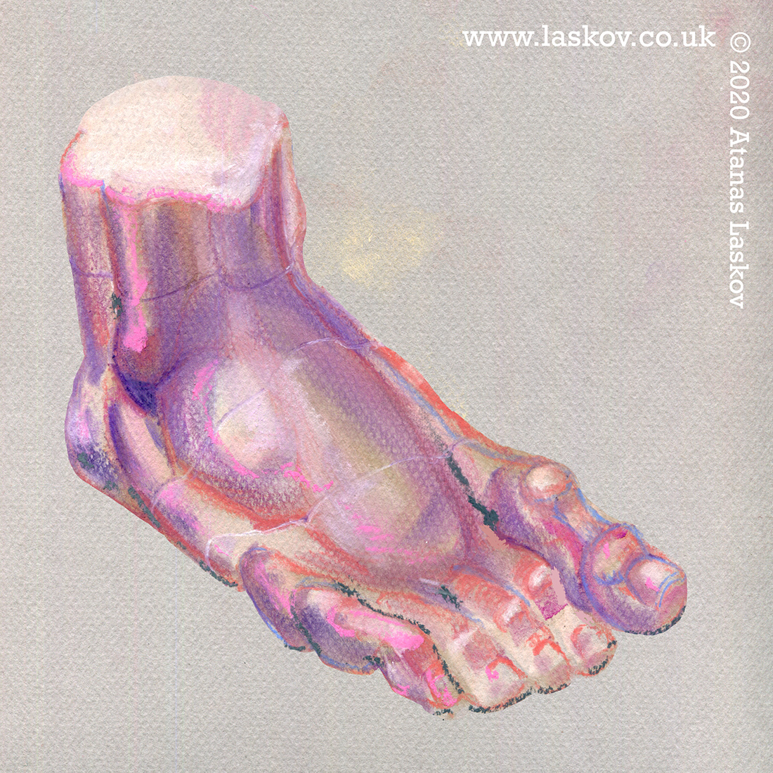 Study of foot in pastels.